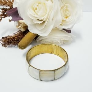 White Gold tone Bangle Brass Bracelet